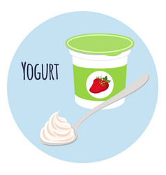strawberry yogurt in plastic cup milk cream vector image