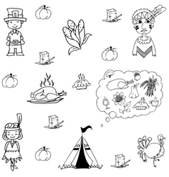 Thanksgiving doodle set flat vector image