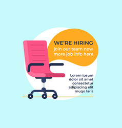 Vacancy office chair business hiring and vector