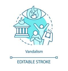 Vandalism concept icon civil unrest property vector