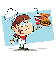 White Burger Boy Holding Up A Cheeseburger vector image