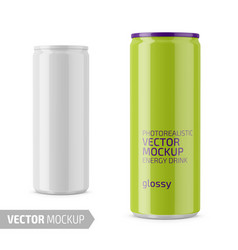 White glossy energy drink can mockup vector