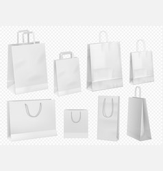 white paper bag template blank cardboard packet vector image