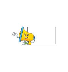 With board yellow loudspeaker cartoon character vector