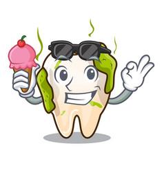 With ice cream cartoon unhealthy decayed teeth in vector