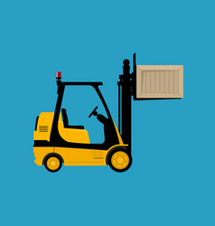 yellow forklift lifted the box up isolated vector image
