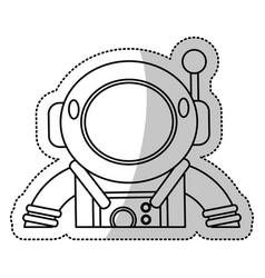 astronaut suit helmet space outline vector image vector image