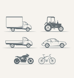 cars motorcycles bike in vintage style vector image vector image