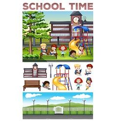 Children doing activities at school vector image vector image