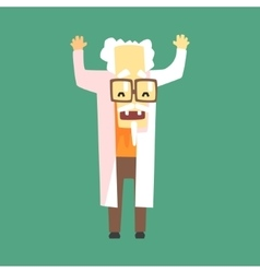 Funny scientist in lab coat with a goatee vector