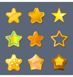 Glossy gold cartoon star icons for game ui vector image vector image