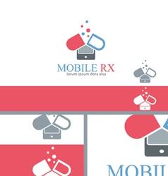 mobile rx pharmacy medicine logo concept design vector image vector image