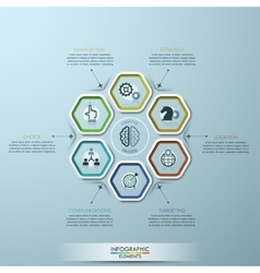 Modern infographics options template with 7 paper vector image