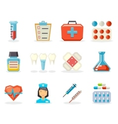 Retro Flat Medical Isolated Polygonal Icons Set vector image vector image