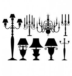 set of antique lighting vector image vector image