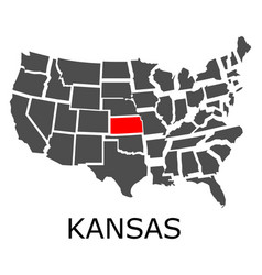state of kansas on map of usa vector image vector image