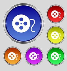 film icon sign Round symbol on bright colourful vector image vector image