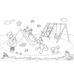 kids at the playground coloring vector image vector image