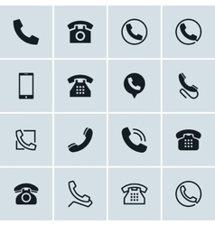 Phone icons set of 16 telephone symbols vector image