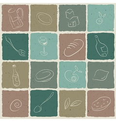 restaurant icons tiled retro background vector image vector image