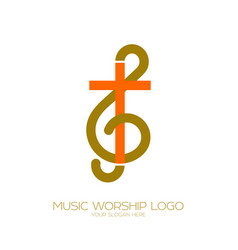 The combination of the treble clef and the cross vector