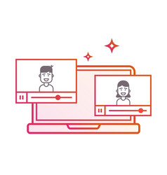 Video on laptop or background background vector