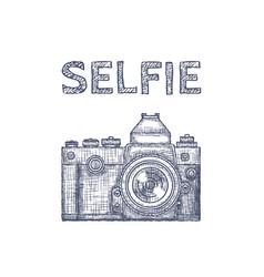 vintage old photo camera logo hand vector image vector image