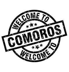 welcome to comoros black stamp vector image vector image