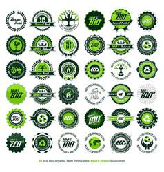 36 eco bio organic farm fresh labels vector image