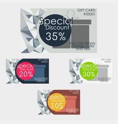discount cards set polygonal texture vector image