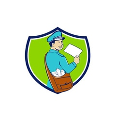 Mailman Deliver Letter Crest Cartoon vector image
