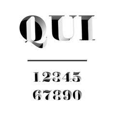 Qui modern typeface carved from the wall letters vector image