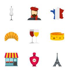 Symbols of france icons set flat style vector