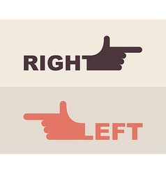 logo hand Shows direction of right hand left hand vector image