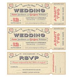 Wedding Invite Tickets vector image vector image
