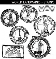 world landmarks stamps vector image vector image
