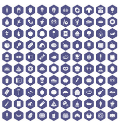 100 favorite food icons hexagon purple vector