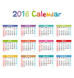 2016 Calendar - kids hand made vector