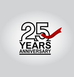 25 years anniversary logotype with black outline vector