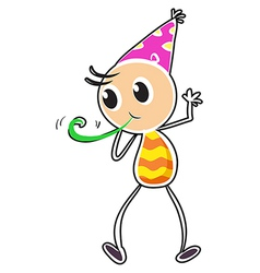 A kid wearing a party hat vector image