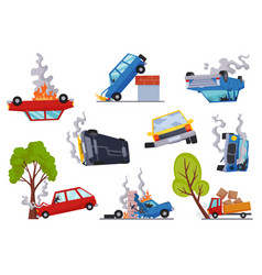 accidents on road cars damaged road accident vector image