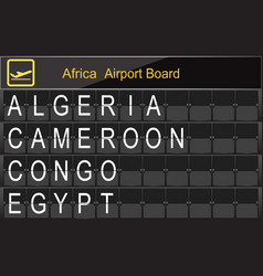 Africa country airport board information vector