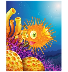 An orange puffer fish near the coral reefs vector image