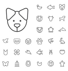 Animals outline thin flat digital icon set vector