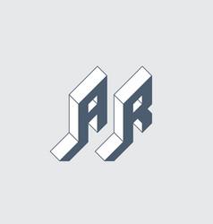 Ar - monogram or logotype isometric 3d font vector