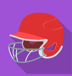 baseball helmet baseball single icon in flat vector image