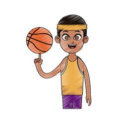 basketball player cartoon icon image vector image
