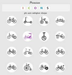 Bicycle types icon set vector