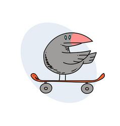 Bird on skateboard vector