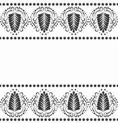 Black elegant border in damask retro style vector image